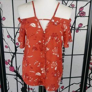 Japna Off Shoulder Floral Boho Button Down Shirt